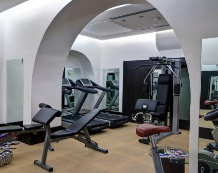 Gym fully equipped in the fitness center of Best Western Plus Hotel Universo Rome